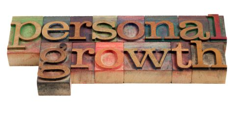 personal growth - words in vintage wooden letterpress printing blocks